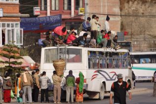 Overloaded bus in Banepa. Photo credit Kate Coffey