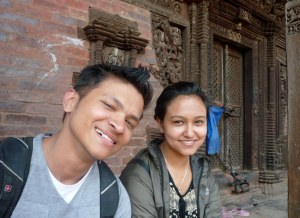Nikita and Binay in happier times - when they took me on the foodie tour in their home town of Bhaktapur