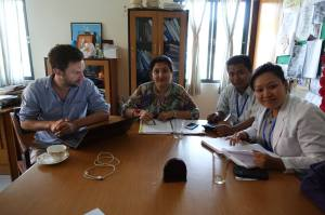 From right:  Chanda (Rehab in Charge), Dipesh (Admin Director), Esha (Executive Director) with Peter a member of a UK disaster team that is tasked with coordinating the medical facilities in the Kavre area.