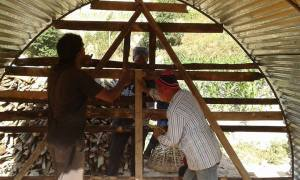 One of the four temporary shelters Rashil and friends built this week in Kavre.  Kavre is where SIRC is located.