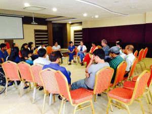 June 18 2015:  This is a staff support/stress management session. Small groups from each discipline are formed and instructed to discuss the stresses of their work and potential solutions. A speaker from each group reports to the larger group and similarities, solutions and emotions are described. Later, more positive aspects of work are discussed as well.