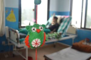 One of the many handmade toys made by the ex-patients of SIRC as part of  SIRC's income generating program - being put to good use in the new Pediatric Cabin