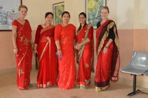 A close up of the SIRC ladies in their finery.  From left Inge, Chanda, Esha, Sheela and Fiona