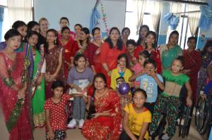 Happy kids and staff in the new ward