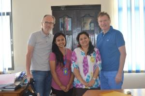 Members of the Rotary Borken Club, Germany with Esha (r) and Nikita (l).