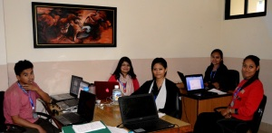 The hardworking ASCoN team at the SIRC offices. From right: Archana Shah, Nikita Kayastha, Anu Shakya, Simona Bajgai and Suman Hamal. Photo credit Nikita Kayastha