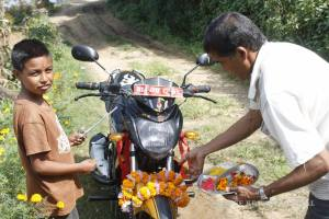 Giving thanks to the motorbike for Dashain