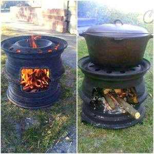 Stacked recycled truck tire rims make great stoves!