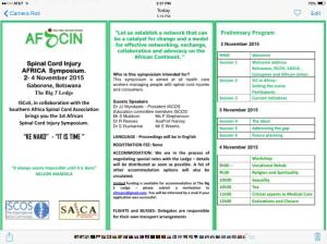 The program for the inaugural AFSCIN meeting in Botswana.