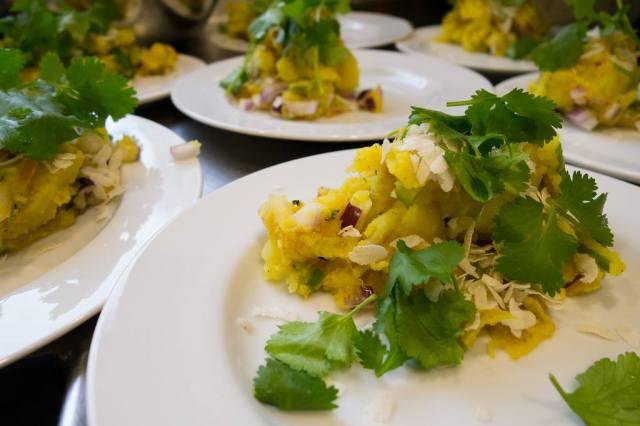 Aloo Ko Aachar with beaten rice