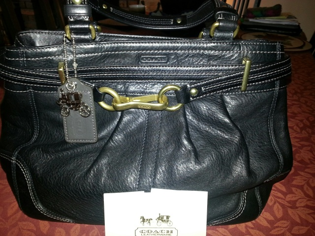 Coach bag with brass trim