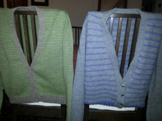 Handknitted cardigans by Cathy Bruce