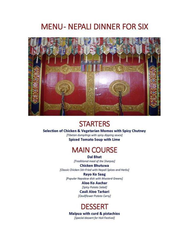 Last year's menu
