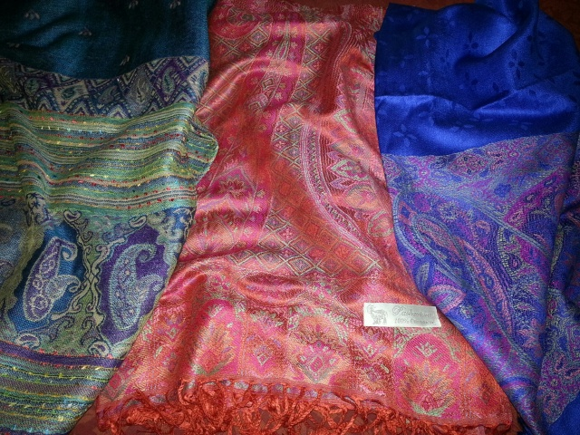 Selection of colourful Nepali pashminas