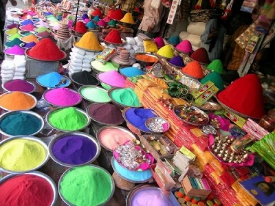 The array of coloured powders for sale just before Holi