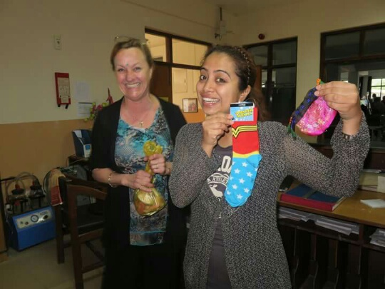 Mandira with her gifts!