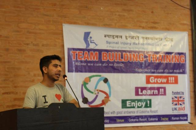 Lekhnath Paudel, SIRC's HR Manager, welcoming everyone to the Training Session.
