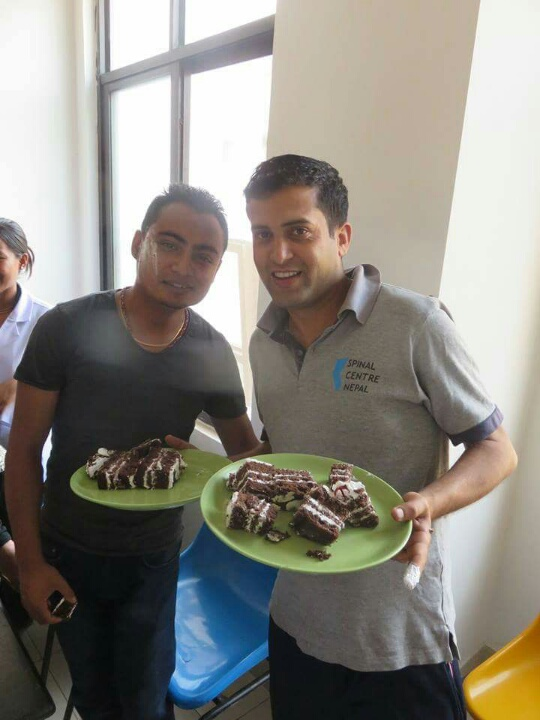 Nurses are generous people, they even shared their cake with the OTs. Actually Keshab (r) can be very convincing.