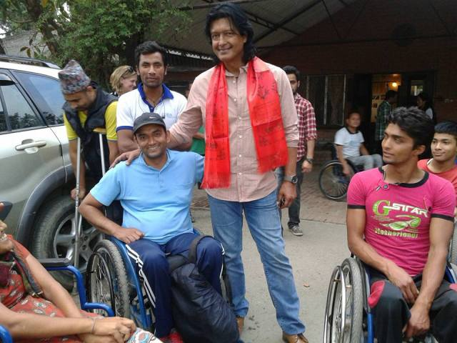 Rishi (l) pictured here with Nepali Actor and Goodwill Ambassador for the Building Back Right initiative - Rajesh Hamal. Tajesh spent over 2 hours at the hostel a few days ago which just thrilled everyone!