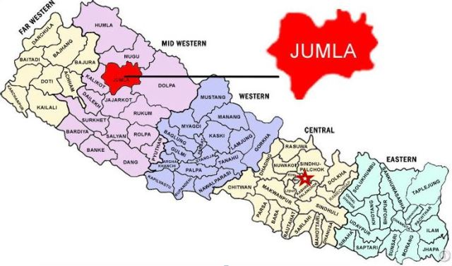 The star indicates the location of Kathmandu and the district called Kabhre Palanchok - the location of SIRC