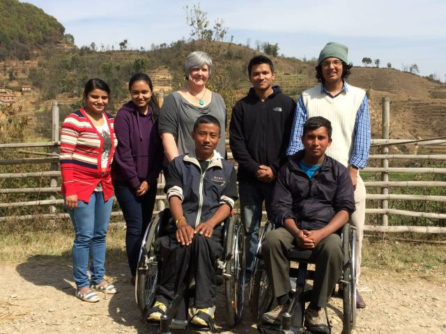 The Dream Team!  All those who worked on Ram's Wheelchair Yaatra. Back row from left: Rozina, Nikita, myself, Binay, Aarjit.  The infamous Ram is front row on your left.
