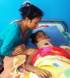 Uma with her elder sister at SIRC, soon after she was admitted towards the end of August. Photo credit SIRC (permission granted).
