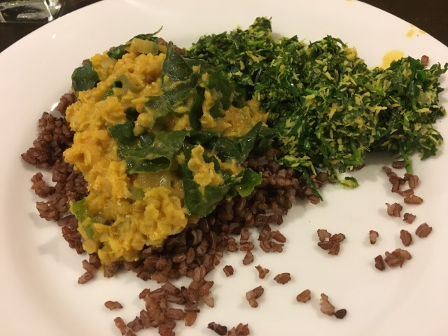 From one of my Grantees, an heirloom red rice called Kurulu Thuda, Sri Lankan dal called Parippu and the greens to the right are delicious and are called Pala Mallum.