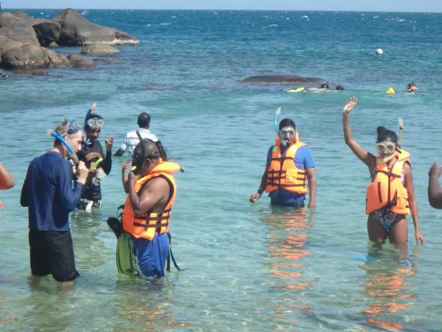 Many of the team did not swim so were brave souls going snorkeling!