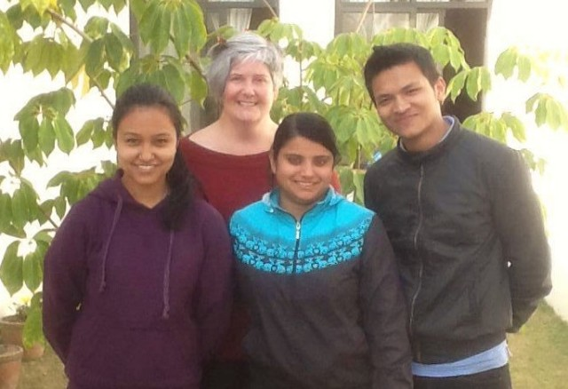 The business interns (l) Nikita (m) Rozina and (r) Binay at SIRC in 2014