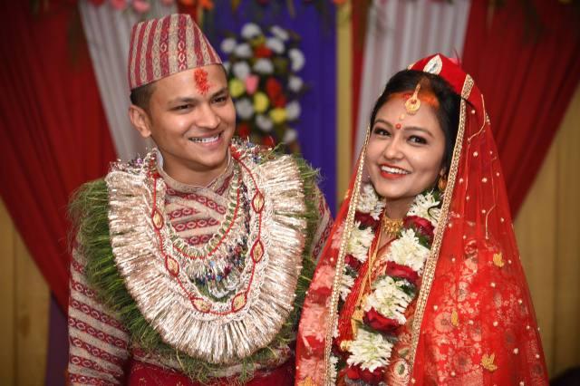 Binay and Nikita, on their wedding day. February 14, 2017