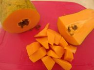 Fresh papaya, from the back yard of one of the business owners I worked with yesterday